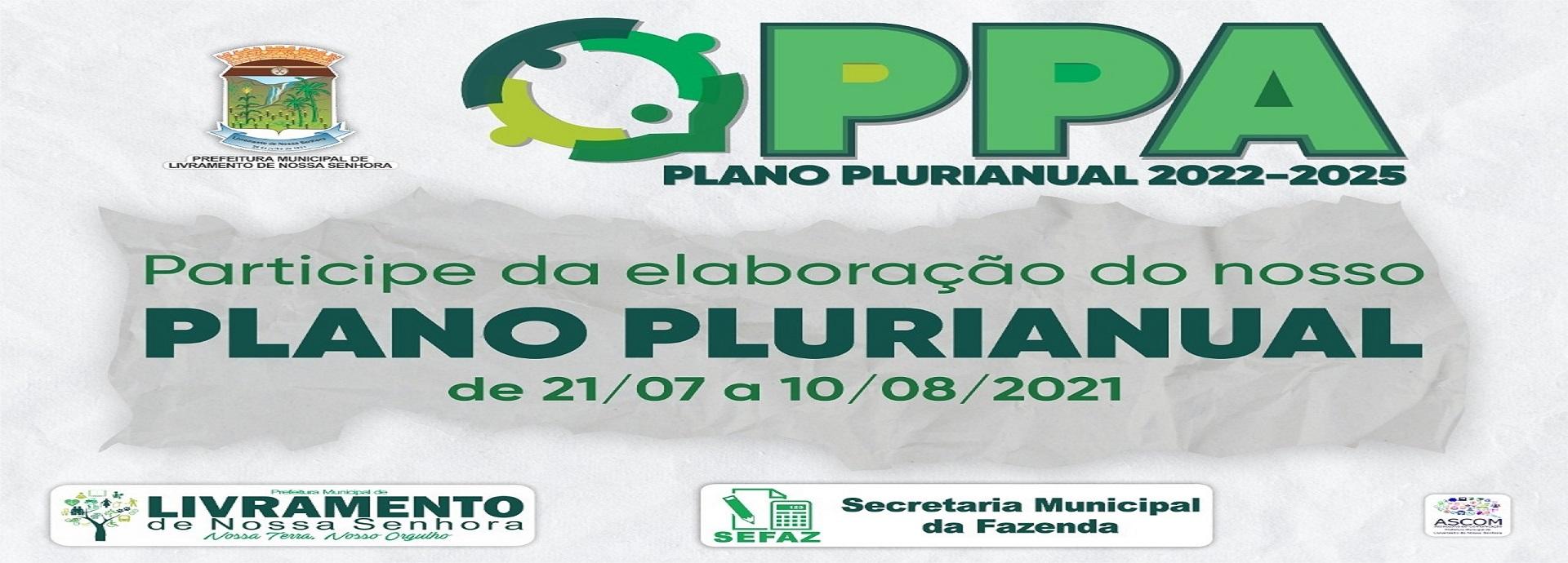 ELABORAÇÃO DO PLANO PLURIANUAL - PPA 2022/2025