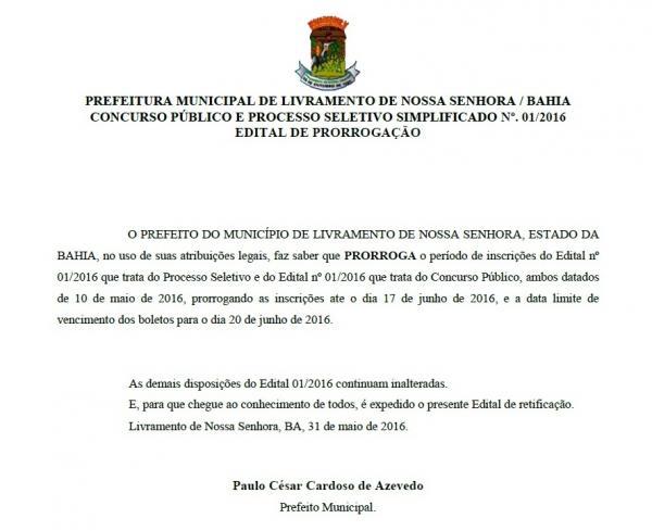 CONCURSO PÚBLICO: Prorrogado o prazo de inscrições para concurso da Prefeitura de Livramento.