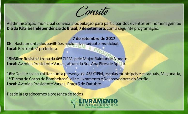Convite:Comemorações da independência do Brasil
