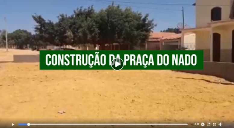 Andamento da obra de construção da Praça do Nado.