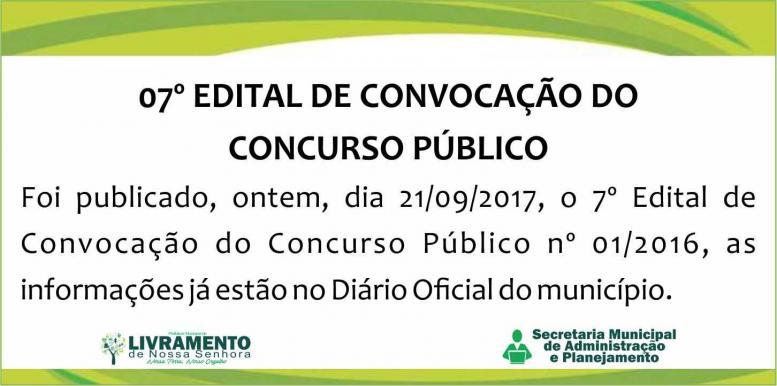 07º EDITAL DE CONVOCAÇÃO DO CONCURSO PÚBLICO