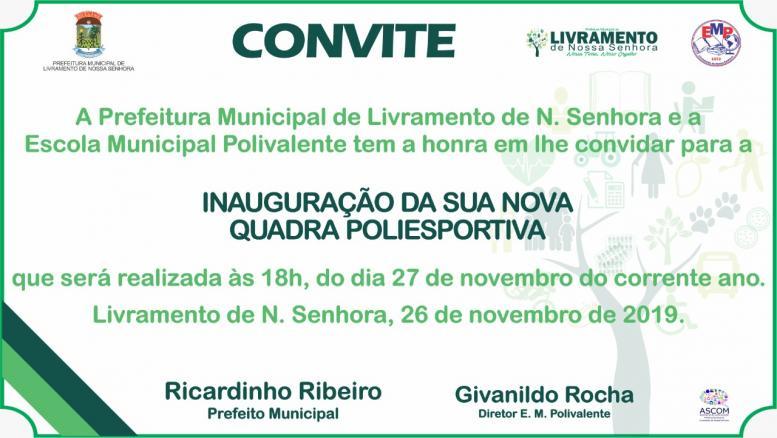 Inauguração da nova quadra poliesportiva amanhã(27) às 18h.